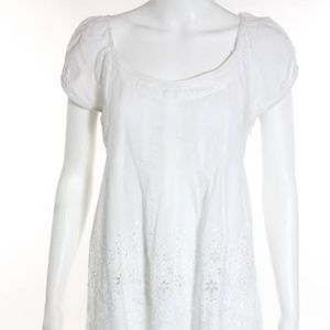 Cynthia Steffe White Cotton Shift Dress Size 6